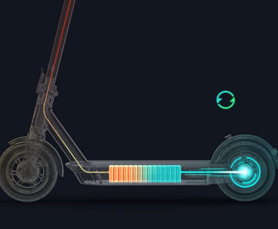 internal image of the batter cells on the G30 by Segway