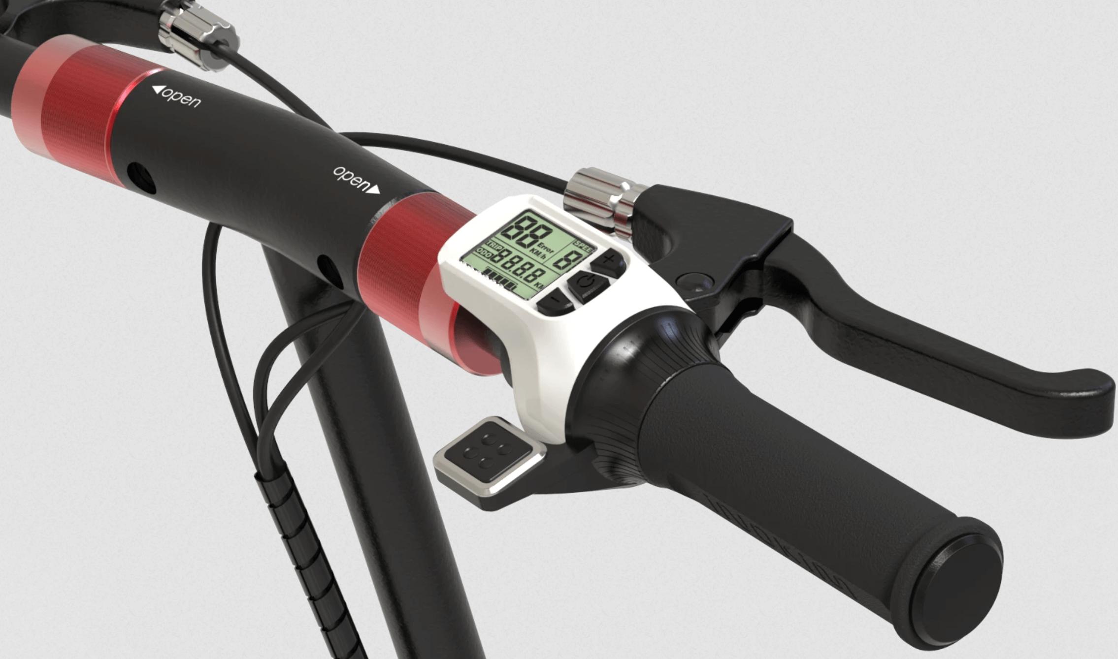 Inokim scooter with longer handlebars and digital LCD screen monitor