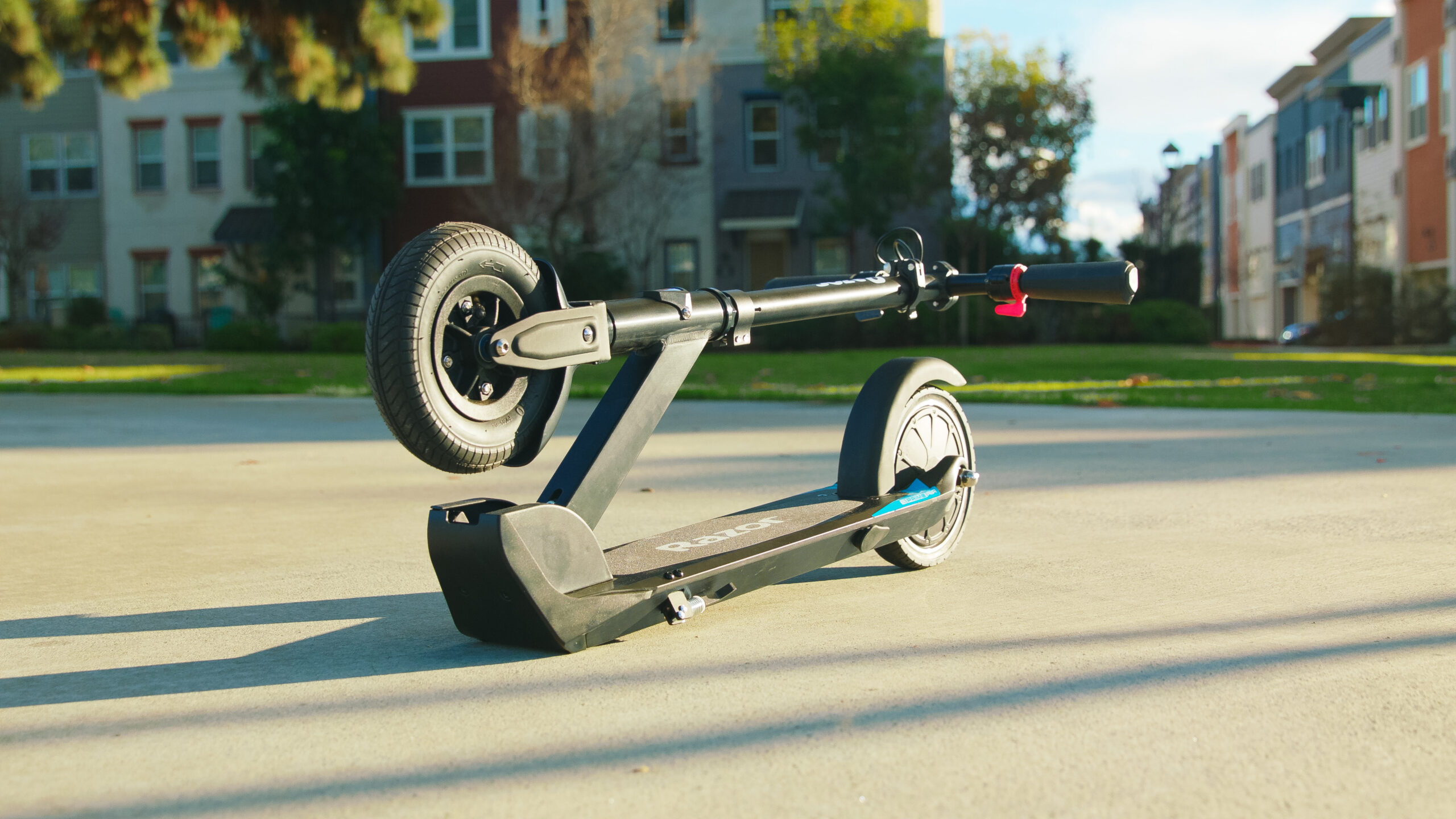 Lightweight Scooter Air in folded position sat on the ground outside