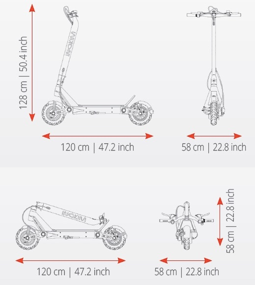 graphic displays scooter dimensions open and folded away