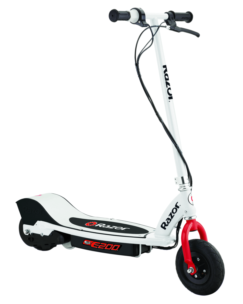 White, black and red E200 electric scooter designed and manufactured by Razor