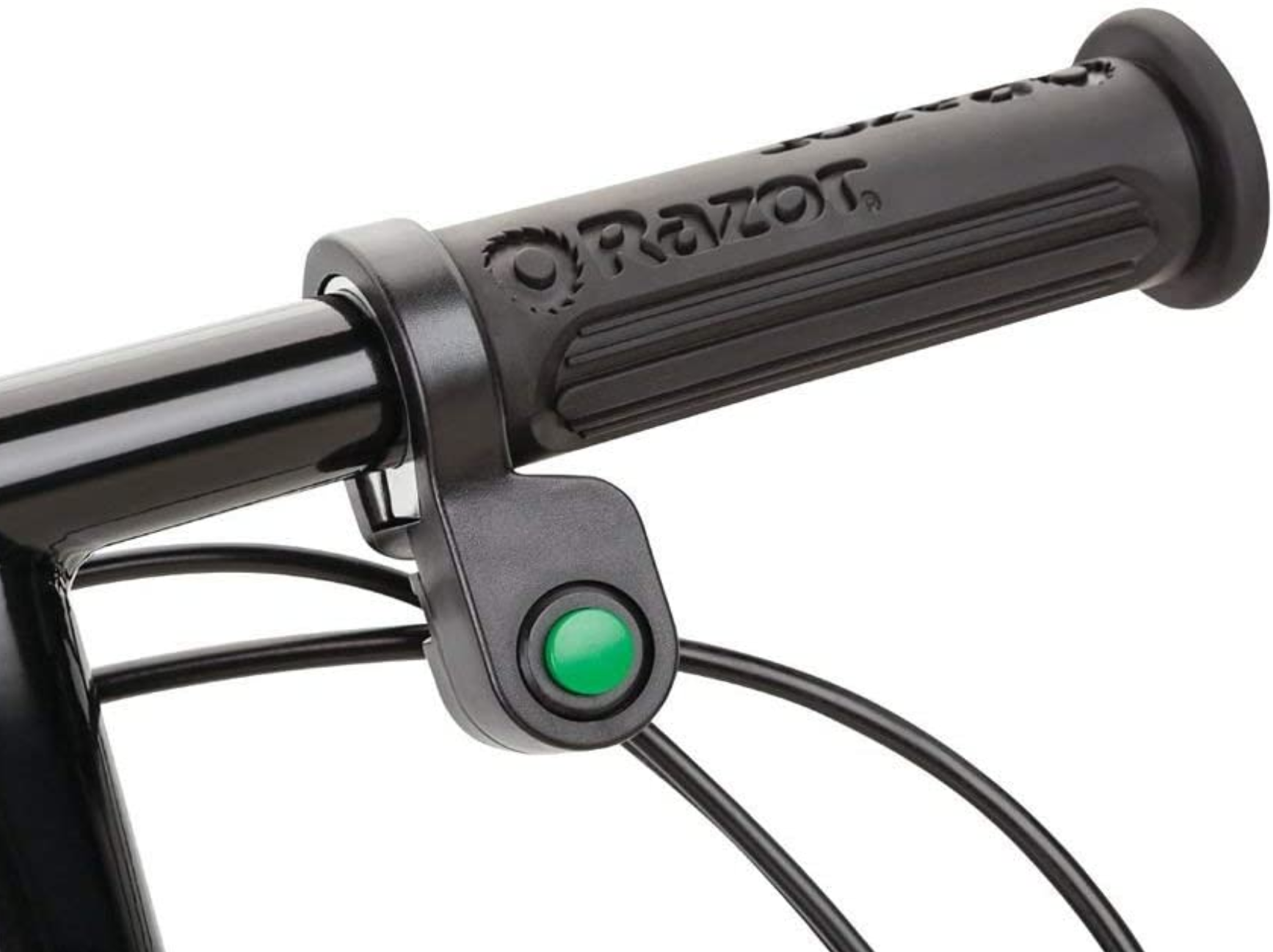 Rubber handle grips and green push-to-start acceleration function.