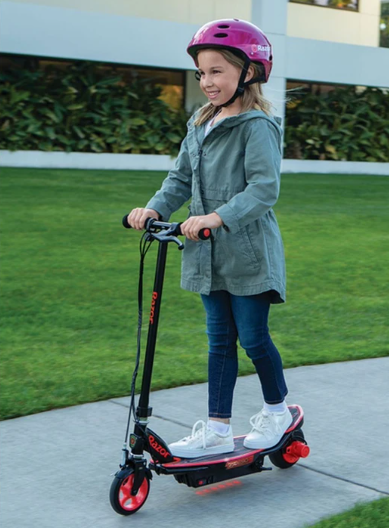 10-Year old girl riding the Glow e-scooter