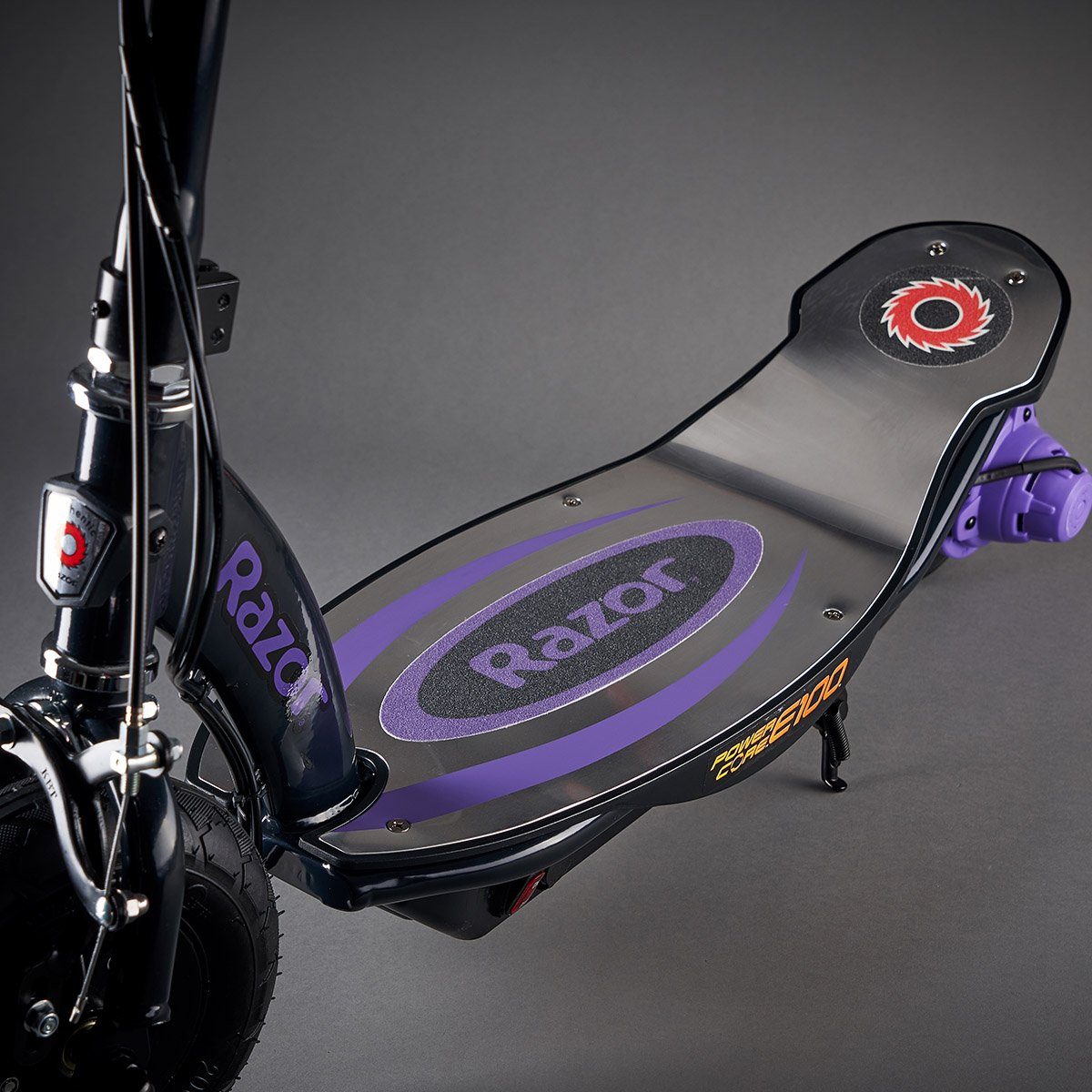 Purple Razor e100 scooter for 9 and 10 year old children.
